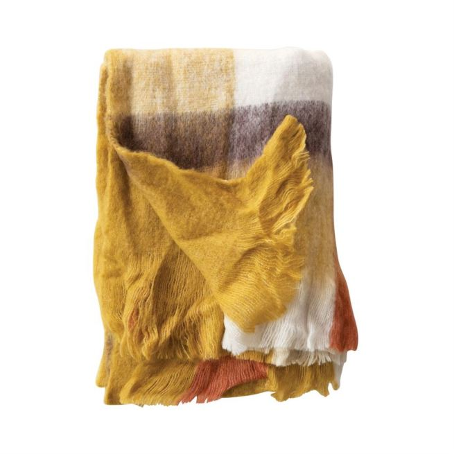 wool & acrylic throw w/ fringe, multi color plaid
