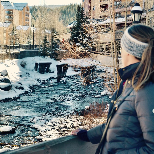 My sister taking in the snowy views on our girls weekend.