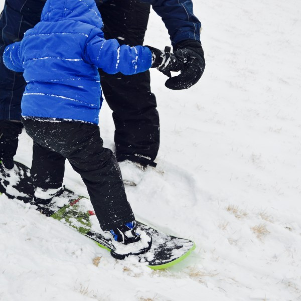 A toddler in a blue jacket and ski pants on a snowboard for the first time.