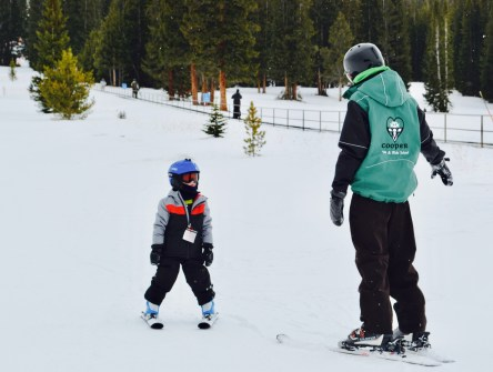 Little man listening intently to his awesome Panda Cubs instructor at Ski Cooper.