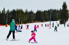 Look at all of those mini skiers! Ski school is in session.