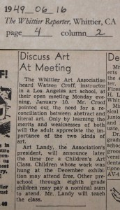 1949_06_16 Landy to teach art lessons