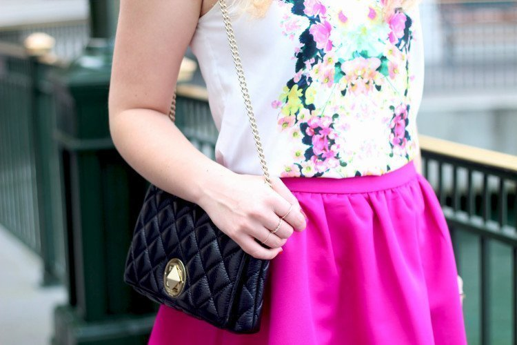 whit floral top midi skirt