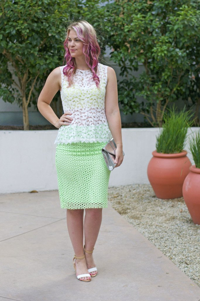 white lace top_green pencil skirt_brittandwhit5