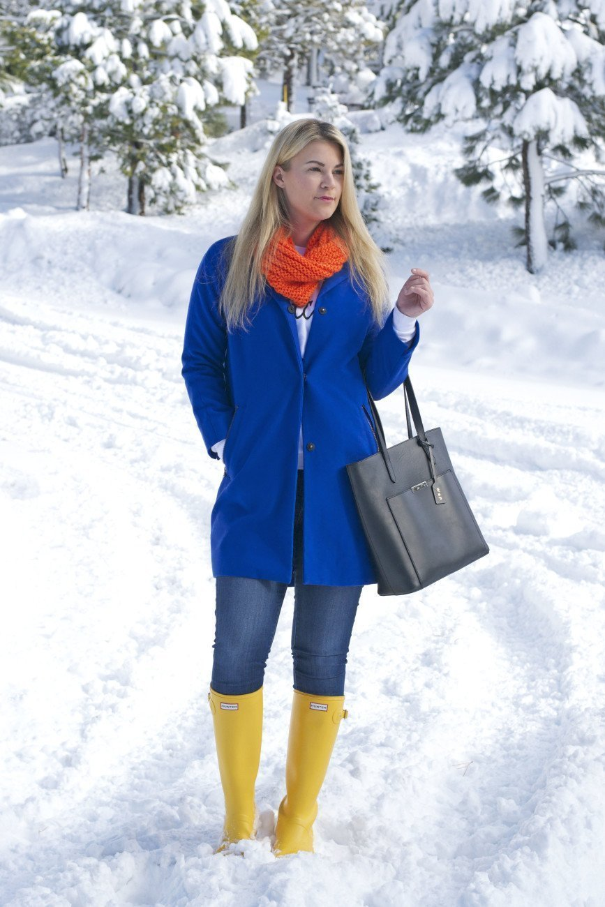 blue coat and yellow hunter boots