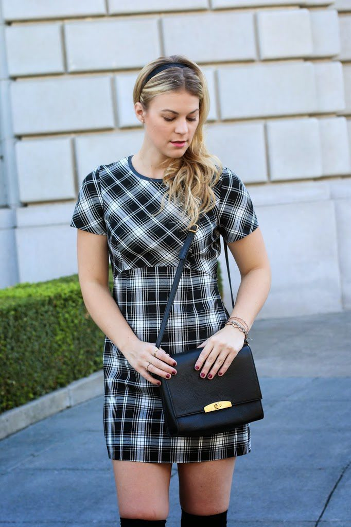 plaid print dress and cuyana