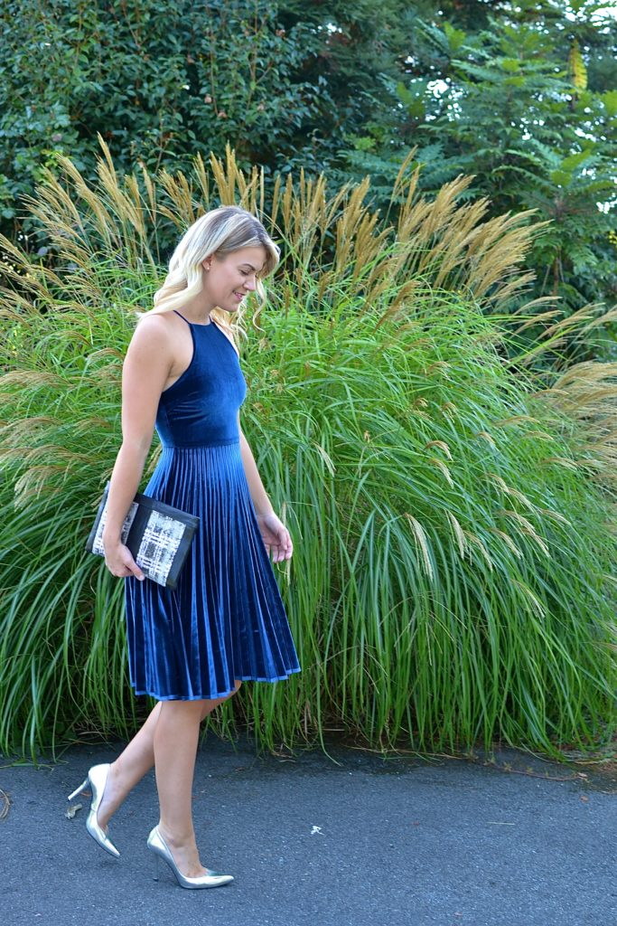 pleated dress and clutch