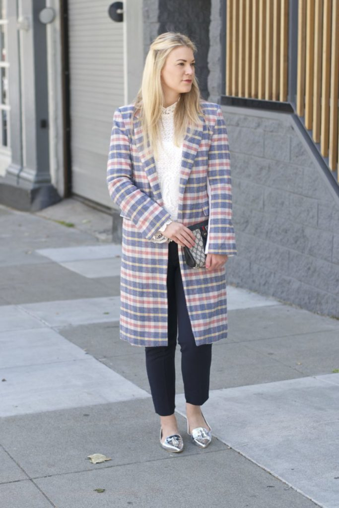 plaid coat for work