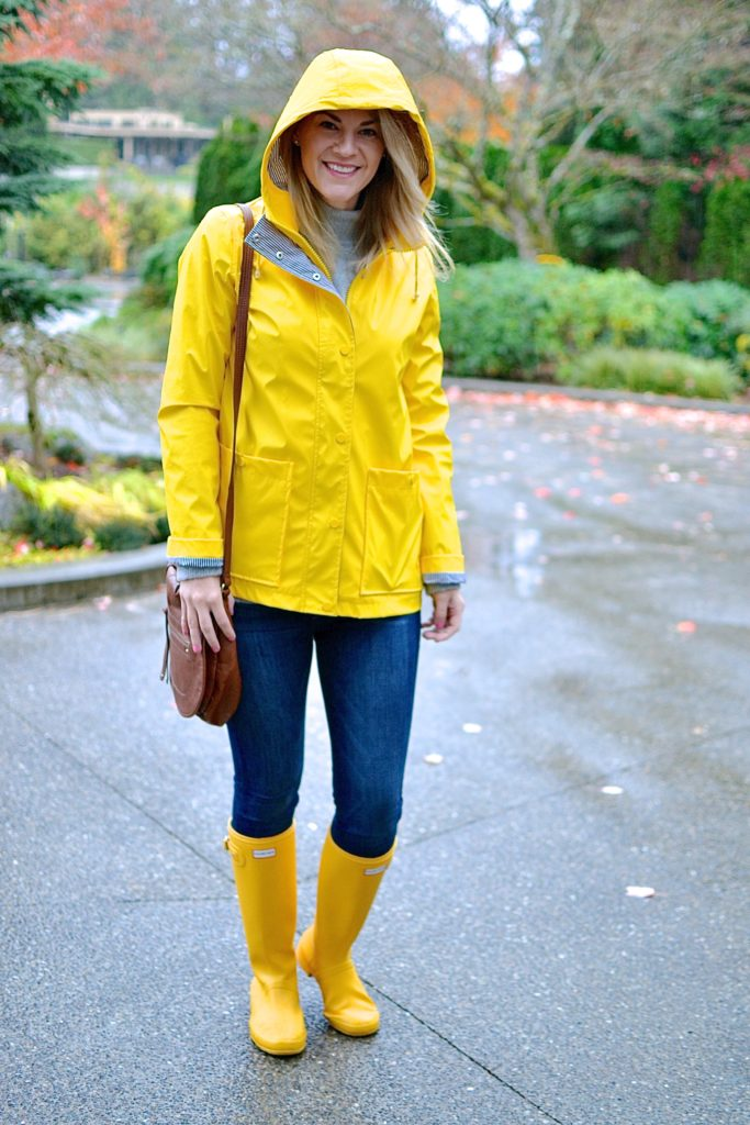 yellow raincoat hunter boots