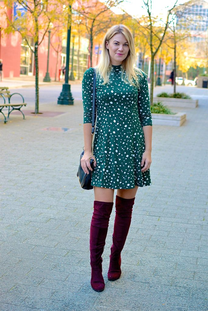 over the knee boots green dress