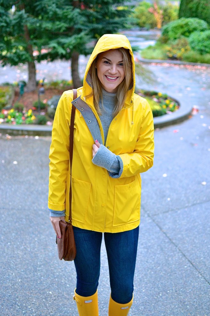 yellow raincoat and jeans