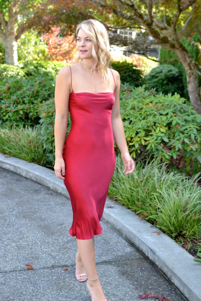 red holiday slip dress