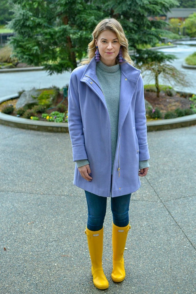 winter style yellow hunter boots