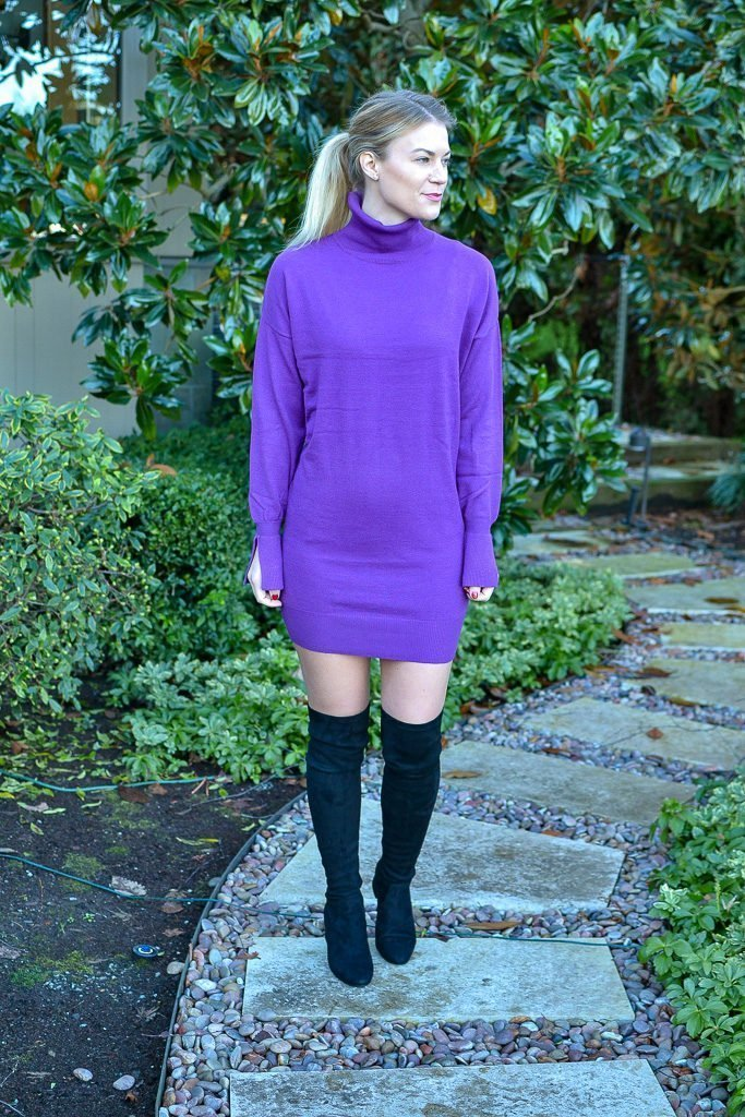 purple sweater dress and over the knee boots
