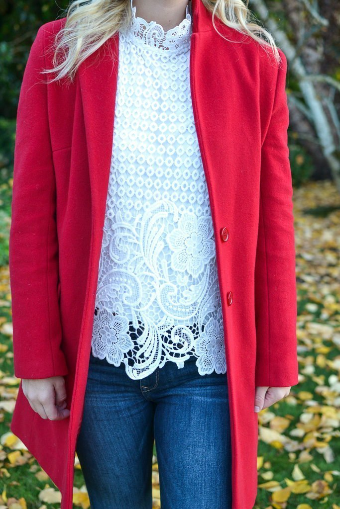red coat lace white top