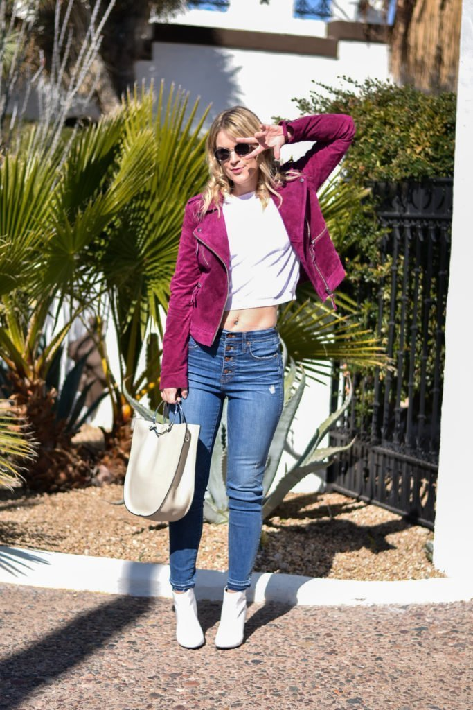 Suede Moto Jacket & High Waisted Jeans