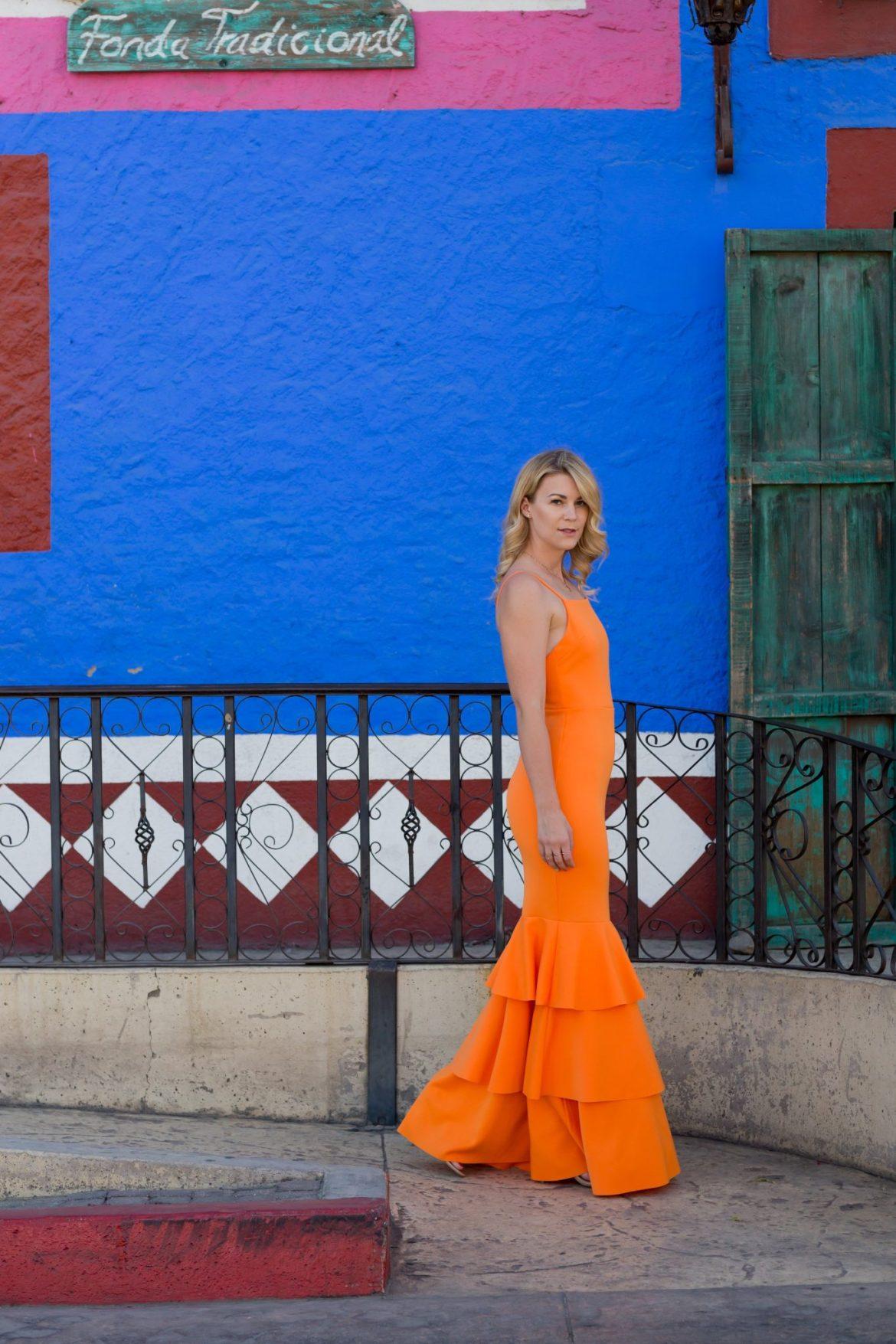 ruffle orange gown
