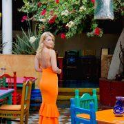 orange ruffle gown