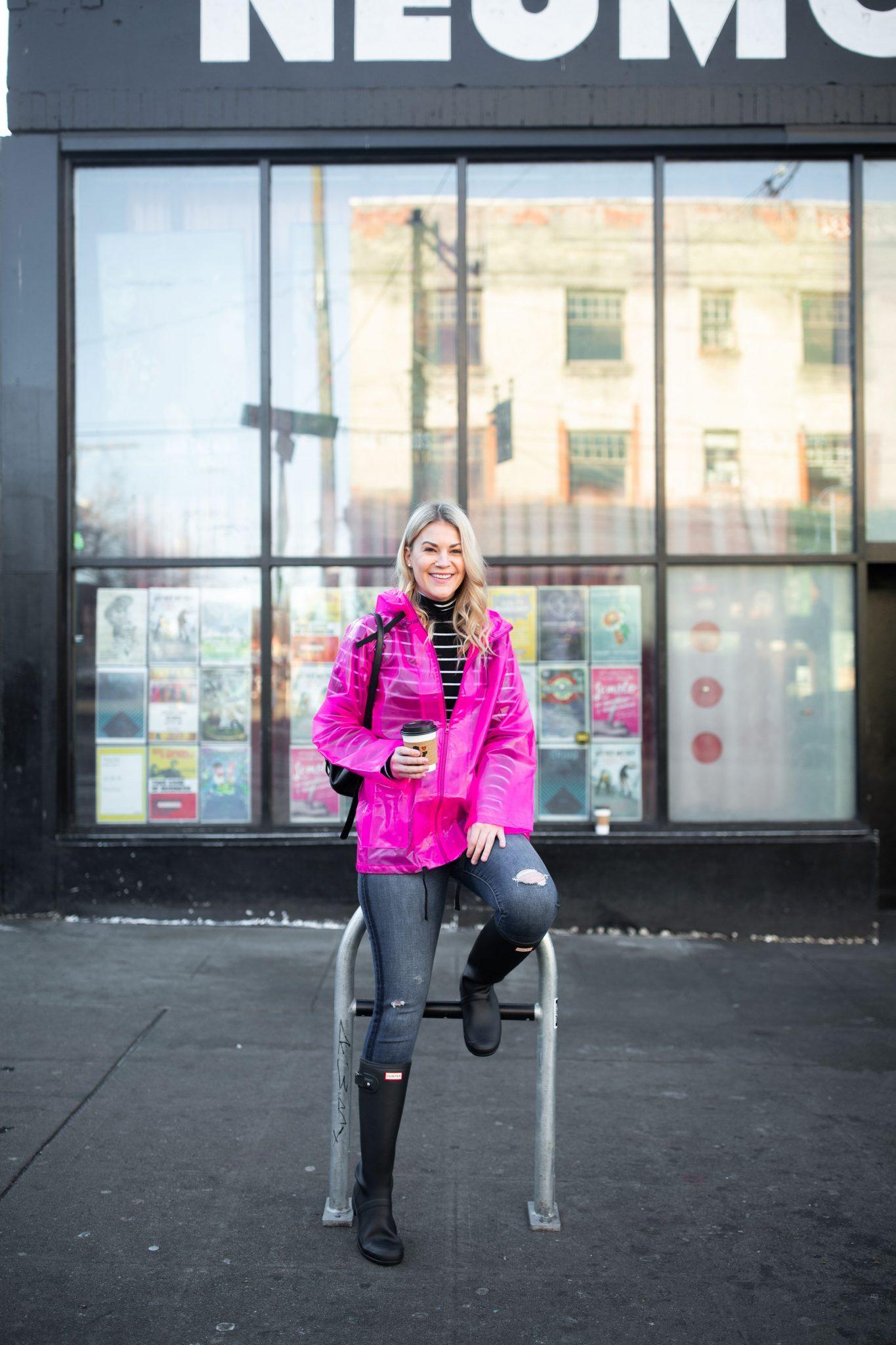 Pink Raincoat & Hunter Boots