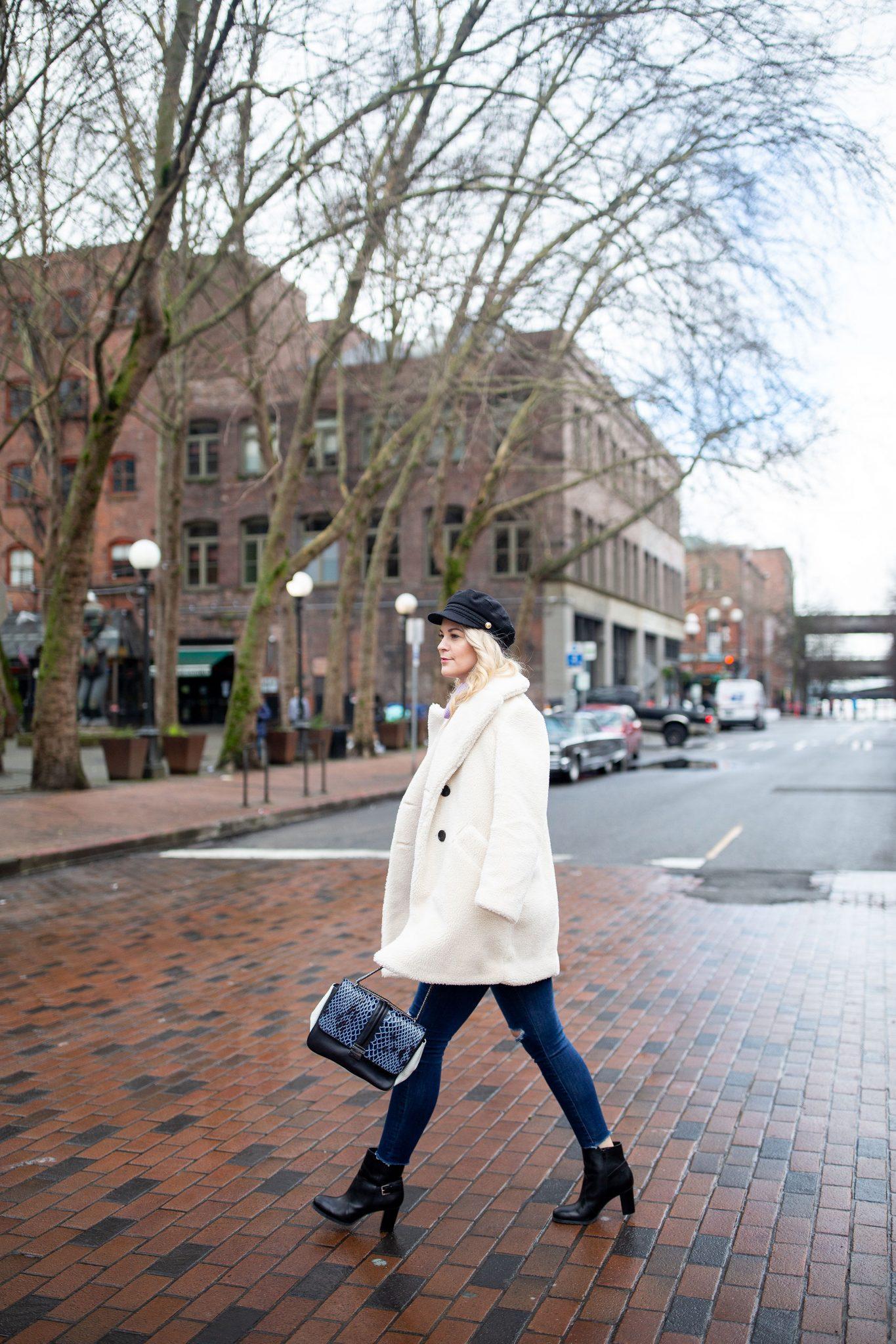 Fleece Coat & Lilac Sweater
