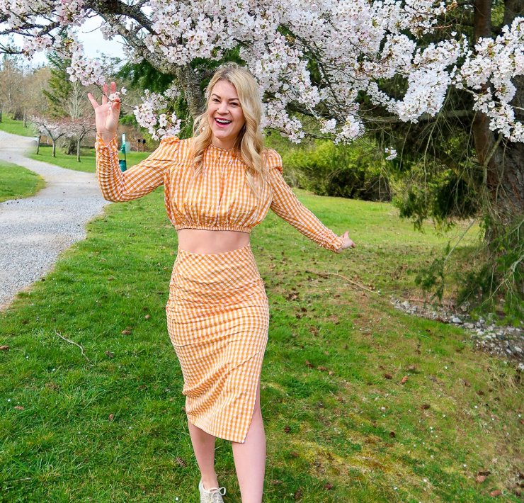 Gingham Two Piece Set styled For Spring by top Seattle fashion blogger, Whit Wanders: image of a woman wearing a Zara gingham two piece set