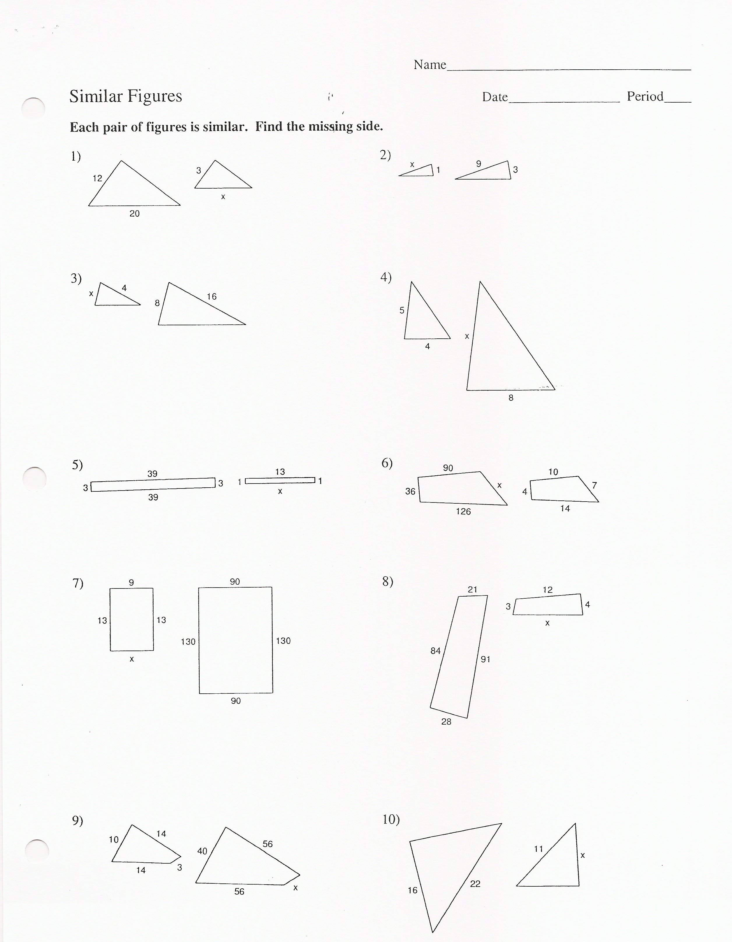 Similar Figures Worksheets 8th Grade