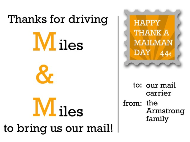 Thank a Mailman Day Postcard - Armstrong