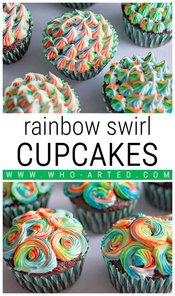 Saint Patrick's Day Rainbow Swirl Cupcakes 2