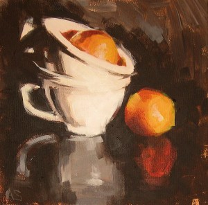 still life painting showing two white coffee cups and two oranges