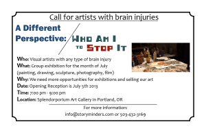 Call for artists with brain injuries with details on the A Different Perspective art show and an image of paints in an art studio.