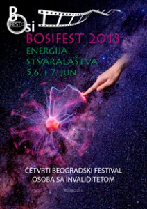 Bosifest 2013 flyer in Serbian shows a finger touching a ball of energy against a backdrop of the night sky.