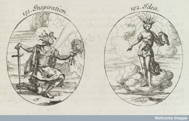"Plate engravings from 1709 showing personifications of ""inspiration"" and ""idea."" The male figure of Inspiration has a glittering ray coming from his chest with a starry sky behind him. His knotted hair is mixed with serpents, and he looks up to heaven. He holds a naked sword, the point on the ground in one hand and and a sunflower or Heliotrope in the other. The female figure of Idea is naked except for a veil. She has a flame on her head and a golden crown with jewels. She is breast-feeding a baby and points down to the world."