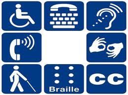 Blue and white image showing eight icons for physical access for mobility, hearing, and vision.