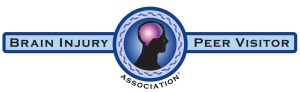 Logo has the name of the organization. In the middle is a person in profile with a brightly glowing purple brain and a healing, glowing aura around the person. Surrounding that is a purple Celtic braid representing the sharing of experiences between visitors and peers with new brain injury.