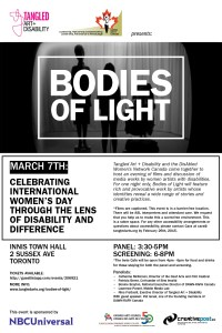 Flyer for Bodies of Light 2015 film festival to celebrate International Women's Day through the lens of disability and difference. A black and white image of three bodies standing onstage, lit from the back.