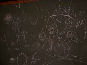 A chalkboard drawing of all the cryptic clues gathered from the cave that will lead the team to The Black Lodge.