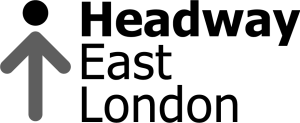 Headway East London logo has a stick figure composed of an upward pointing arrow with a head on top.