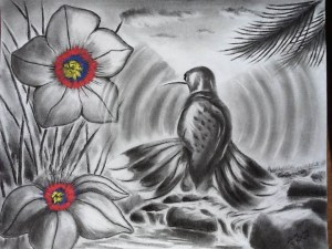 Charcoal sketch of a bird hovering over a river by some flowers. The flowers' centers are bright red, yellow, and blue.
