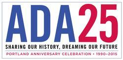 ADA 25th anniversary logo Sharing Our History, Dreaming Our Future