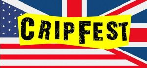 "A mashup of the UK and US flags with a yellow banner in the middle and ""cripfest"" in grungy black text."