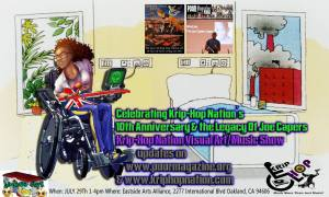 Brown woman in her bedroom in her wheelchair with a guitar on her lap. She's looking out the window. On the walls are three posters: Krip-Hop 10th anniversary, POOR Magazine poster, and a Blind Joe Capers, The Joe Capers Legacy with Joe as a little boy behind Leroy Moore as Leroy speaks into a microphone. The flyer reads: Celebrating Krip-Hop Nation's 10th Anniversary & the Legacy Of Joe Capers. Art by Manfred Schmerz.