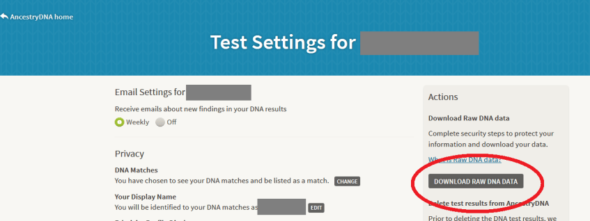 Where is the button to download my Ancestry DNA data