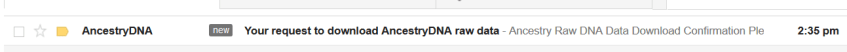 Your request to download AncestryDNA raw data