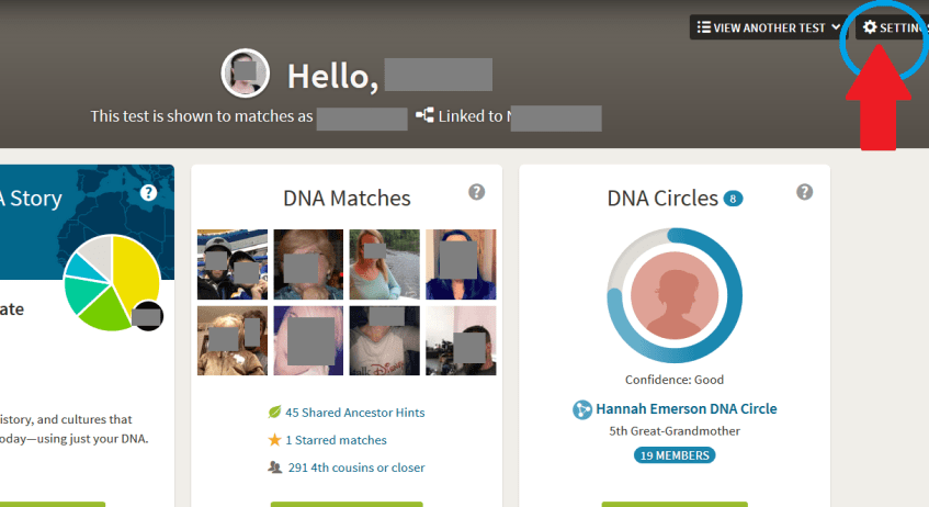 how to access DNA test settings on Ancestry
