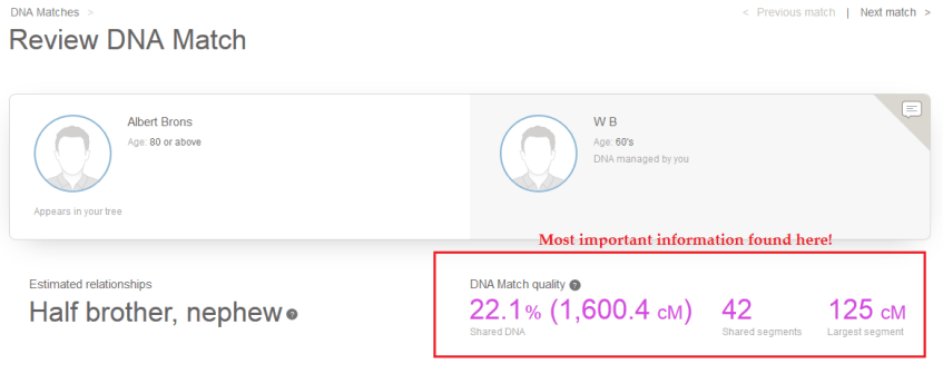 how to know how your my heritage dna match is related