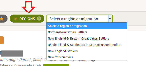How to filter DNA matches by region or migration