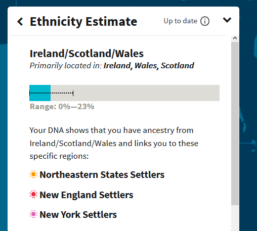 How to see whether I have migrations connected to the Ireland/Scotland/Wales DNA region