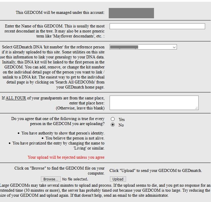 how to upload gedcom to gedmatch