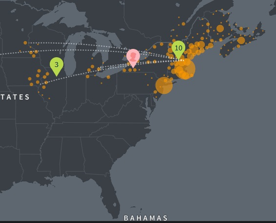What are the colored dots and numbers in Regional Story on Ancestry DNA