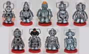 Cybermen pawns for custom Doctor Who chess set.